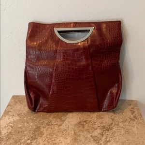 Poppie Jones burgundy leather handbag